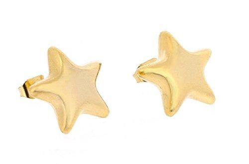 Ben and Jonah Stainless Steel Gold Plated Estrella de Oro Star Stud Earring