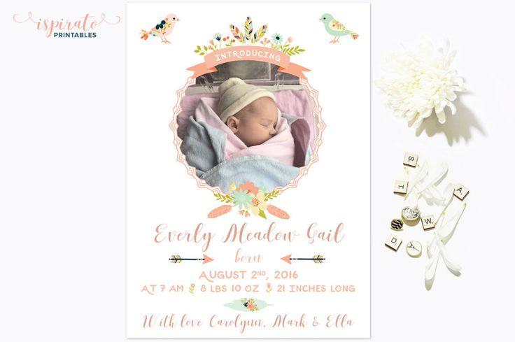 Baby Birth Announcement Card | Newborn Card | Printable Card | Baby Girl Birth Announcement | 5x7 | Digital Baby Card | Custom Birth Card by IspiratoPrintables on Etsy https://www.etsy.com/ca/listing/475626132/baby-birth-announcement-card-newborn