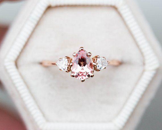 Peach sapphire moissanite three stone engagement ring pear   Etsy