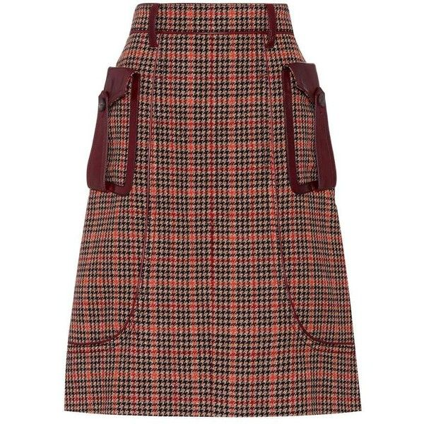 Prada Wool-Blend Houndstooth Skirt ($2,120) ❤ liked on Polyvore featuring skirts, clothes / skirts, brown, brown houndstooth skirt, houndstooth skirt, prada skirt, prada and brown skirt