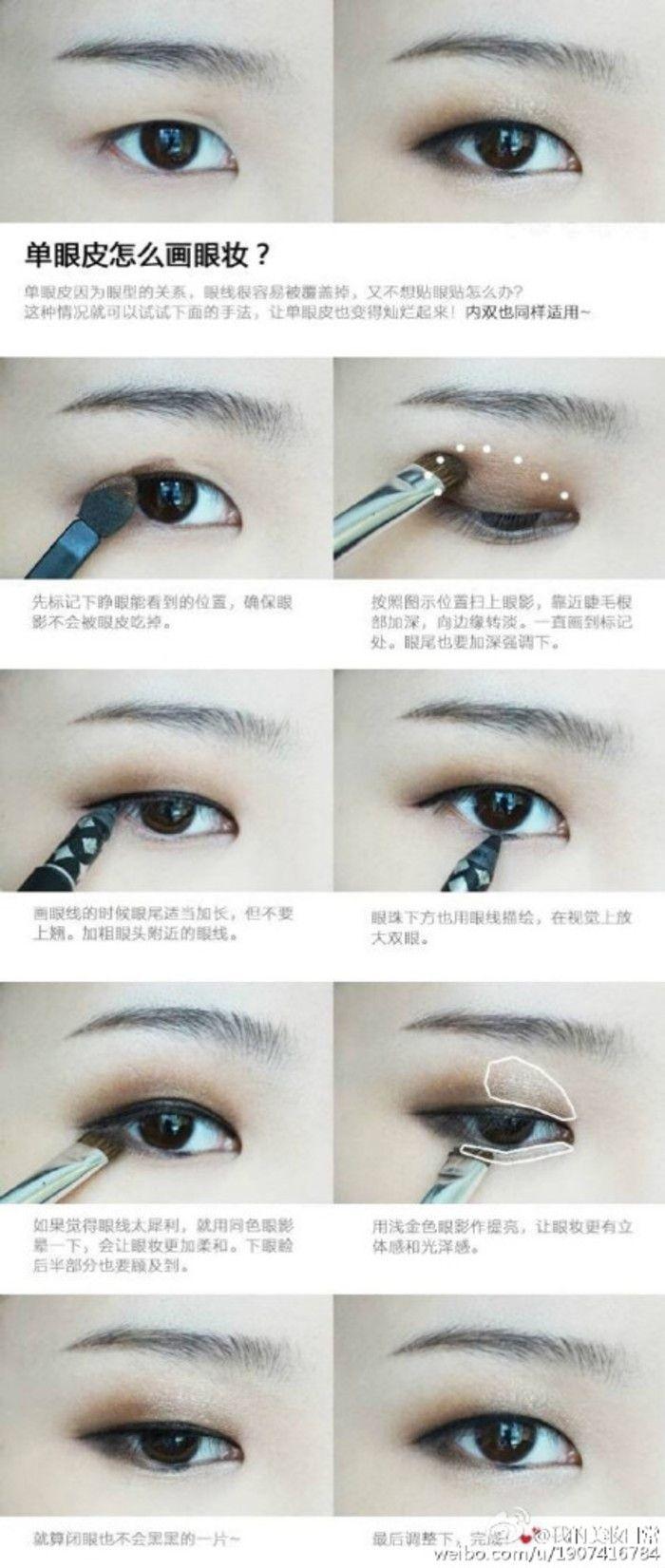 Single eyelid make up