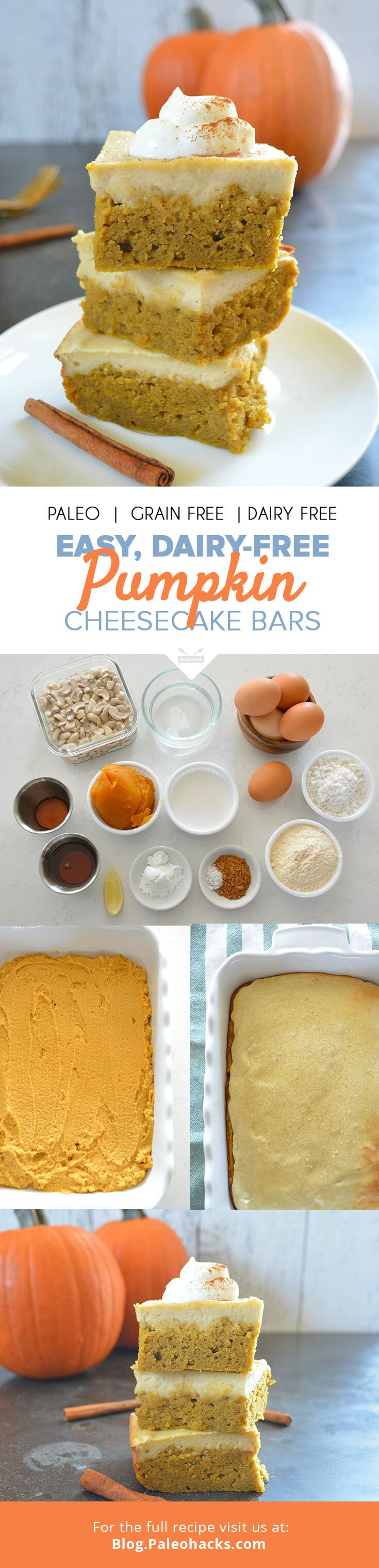 Tis the season for pumpkin everything! For the full recipe, visit us here: http://paleo.co/pumpkincheesecakebars