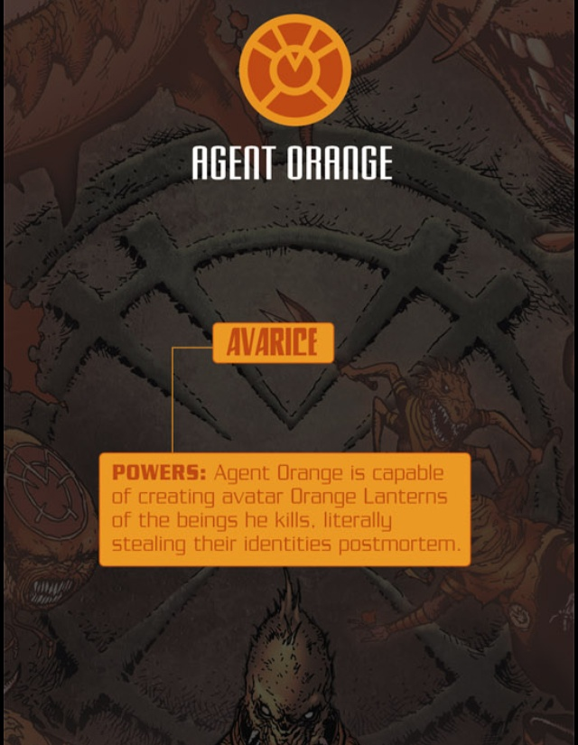 """Orange Lanterns and their oath is something along the lines of """"what's mine is mine and everything is mine mine mine MINE!!!!"""""""