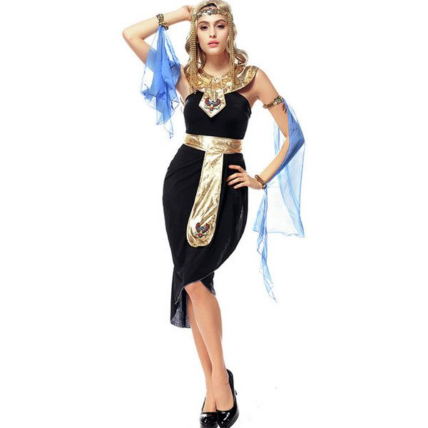 Black Sexy Egyptian Queen Costume ($38) ❤ liked on Polyvore featuring costumes, black, sexy costumes, egyptian goddess costume, sexy egyptian goddess costume, egyptian goddess halloween costume and egyptian queen costume