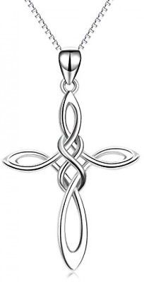877764578 Celtic Cross Necklace 925 Sterling Silver Pendant Chain Infinity Knot Charm  Gift | eBay