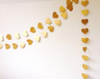 Ghirlanda di cuori d'oro, decorazione del partito, decorazione di nozze, ghirlanda cuore, decorazione di Natale, ghirlanda dell'oro, matrimonio Garland, scegli la durata