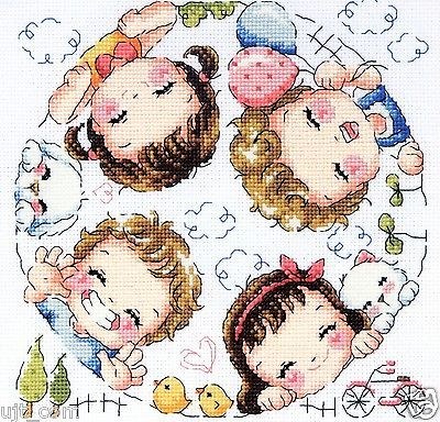 """Happy village"" Counted cross stitch chart. SODAstitch SO-3155"