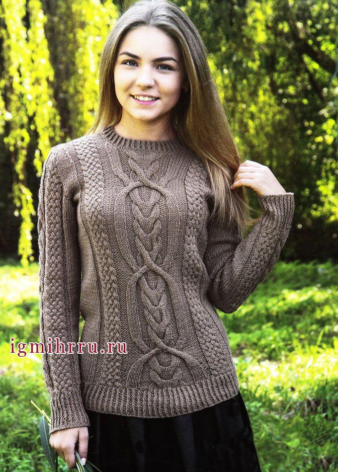 Коричневый пуловер с красивыми фантазийными узорами | Золотые Руки