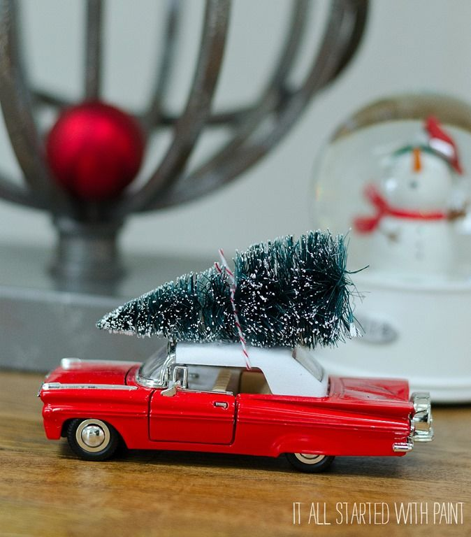 Vintage Car with Bottle Brush Tree