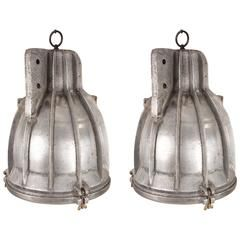 Pair of Large Industrial Aluminium Ship Deck Lights