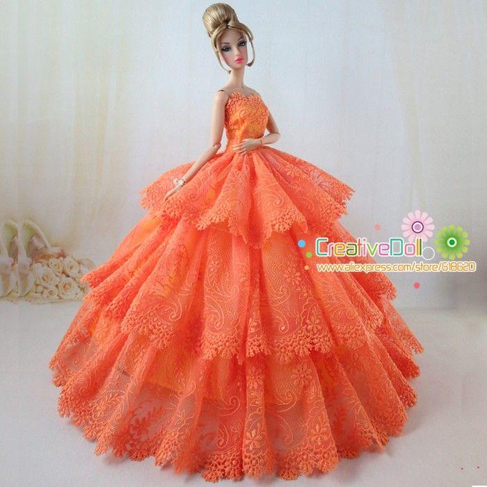 Новый год рождественский подарок на день рождения для девочек младенцев оранжевый цвет свадебное платье для куклы барби невесты платье купить на AliExpress