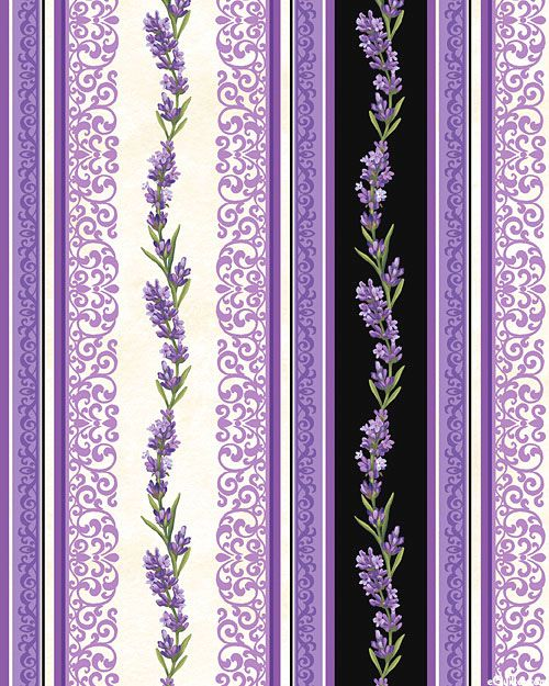 Lavender Market 2 - Garlands & Lace Stripe - Cream