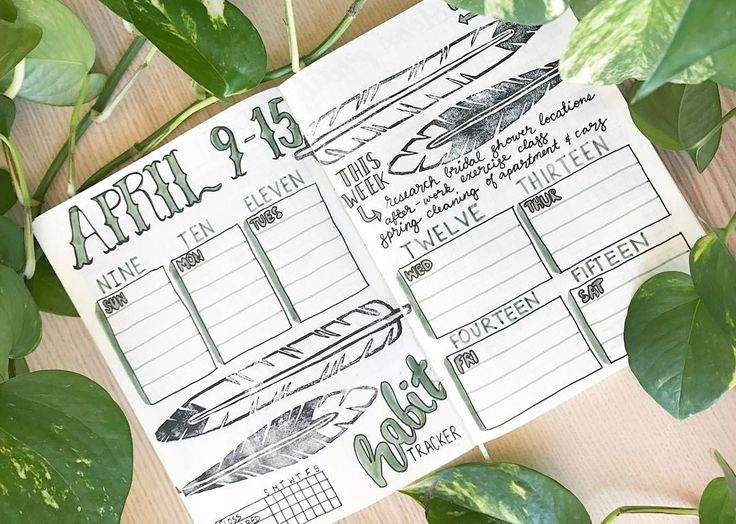 [5/100] upcoming week's spread for #100daysofgreen using my #feather stamps I carved a couple of months ago featuring 1 of the 2 houseplants I've ever been able to successfully keep alive  #green #100daysproject #planner #bulletjournal #bujo #journal #organization #plants #plant #nature #houseplants #feathers #stamp #printmaking #linocut #april #habittracker #letting #handwriting #calligraphy #handlettering #handletteringpractice #sketchbook