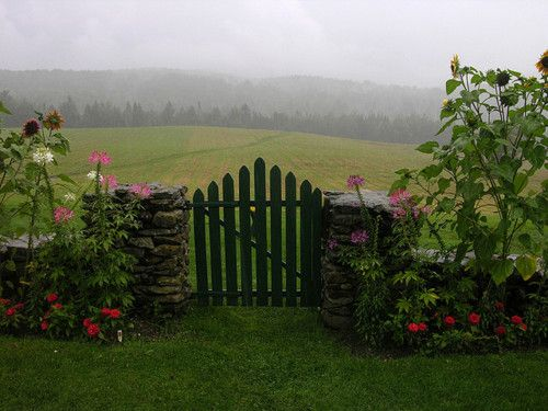garden gate in stone wall