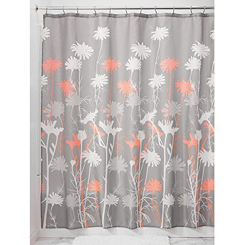 Pin by Akilah Canada on Bathroom  Bathroom shower curtains Coral shower curtains Fabric