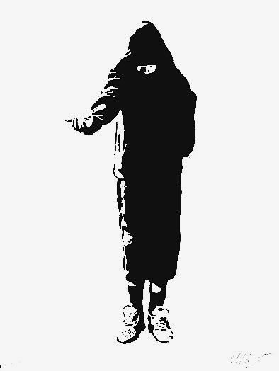 Beggar by Blek Le Rat. They have used a stencil, which was made digitally using a colour image and spray painted onto that. I have selected thiswork because I found out that Blek Le Rat was the main pioneer of stencil art and apparently inspired Banksy. I would like to create a stencil like this.