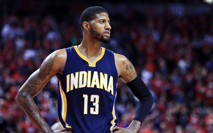 Download wallpapers Paul George, Indiana Pacers, 4k, basketball, NBA, USA, American basketball player