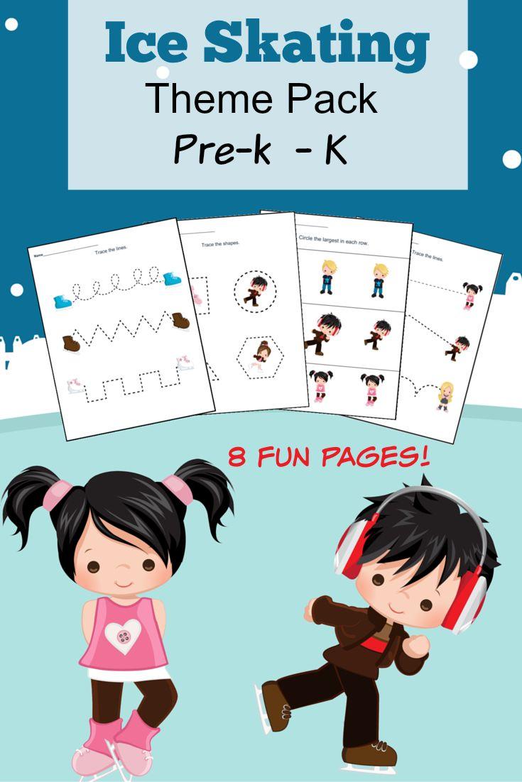Free Printable Ice Skating Themed Pre-Kindergarten and Kindergarten Worksheets