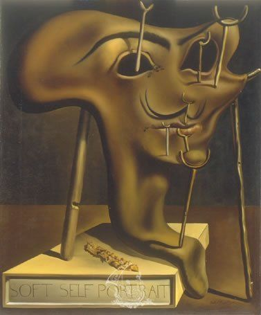 Soft Self-Portrait with Grilled Bacon. Autorretrato blando con tocino frito. 1941. Óleo sobre tela. Salvador Dalí.
