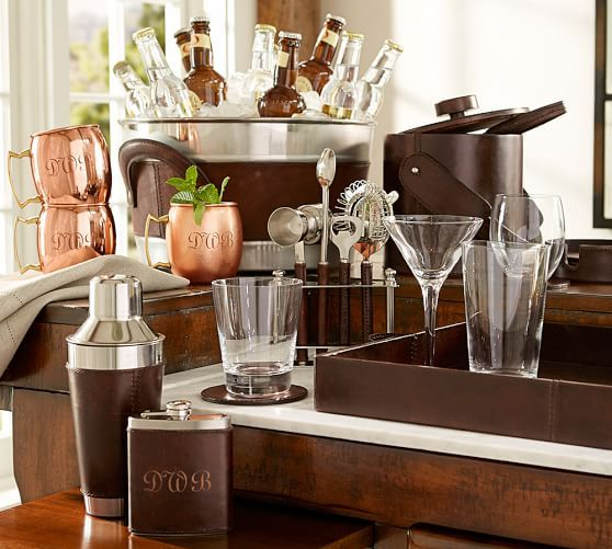 Saddle Leather Cocktail Shaker | Pottery Barn