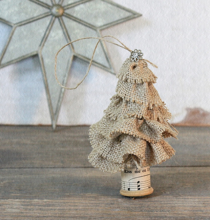 Vintage Inspired Burlap Christmas Tree Ornament.