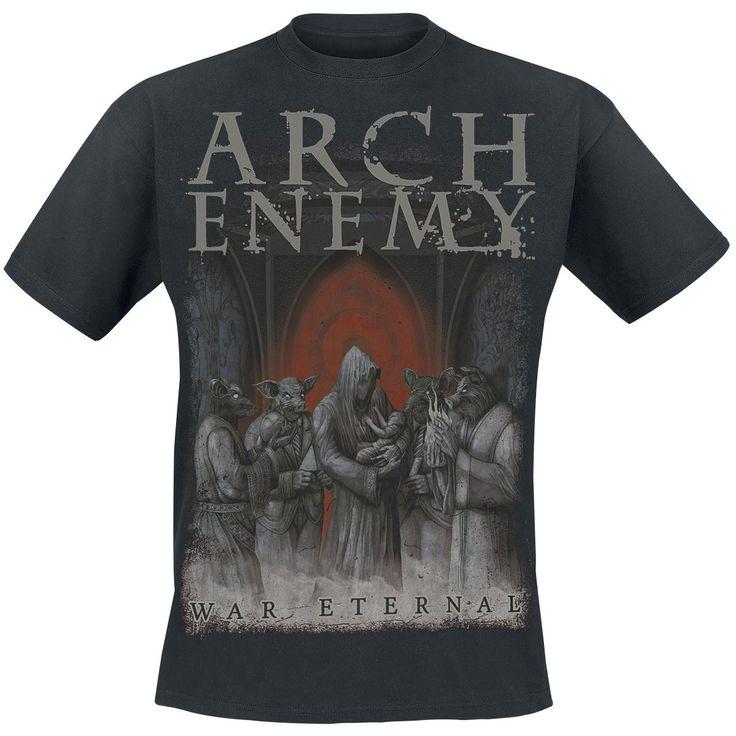 """Classica T-Shirt uomo nera """"War Eternal Cover"""" degli #ArchEnemy con ampia stampa frontale."""