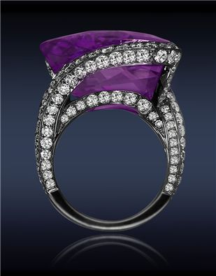 Jacob Co. Amethyst Diamond Ring with 21.42cts Rose Cut Amethyst Center to 3.58cts Pave Set White Diamonds (168 Stones) on Gallery and Spiral Shank.