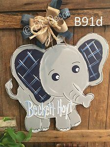 B91 - Elephant Door Hanger - Baby Elephant Hospital Door Hanger - Birth Announcement Sign