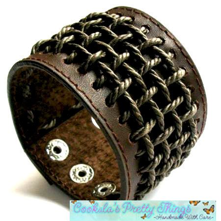 Brown Leather braided Cuff Bracelet Biker by CookalasHouseOfCards, $18.99