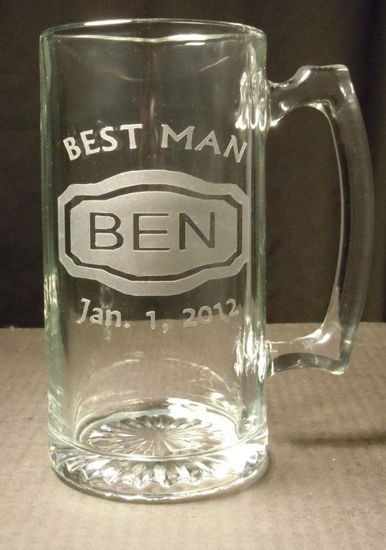 Groomsman Gifts - Personalized Mugs - Name, Title, Date - DEEP Etched Beer Mug, Groomsmen Beer Mug, Father, Best Man Gift, Wedding Beer Mug. $20.00, via Etsy.