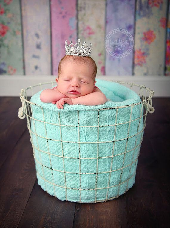This adorable full mini crown is adorned with clear Austrian Crystals and is perfect for any newborn princesses first photo shoot! This full