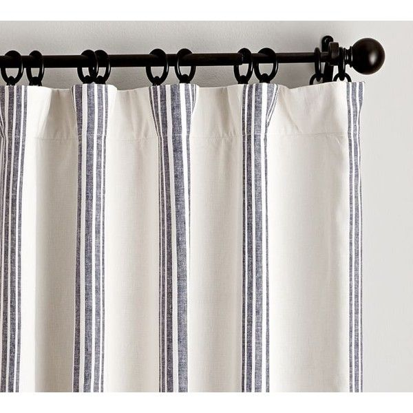Pottery Barn Riviera Stripe Drape with Blackout Liner ($129) ❤ liked on Polyvore featuring home, home decor, window treatments, curtains, rod pocket panel, black out curtains, striped curtains, striped draperies and rod pocket curtains