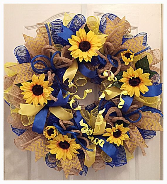 Saved: Sunflower Blue, Yellow and Burlap Wreath