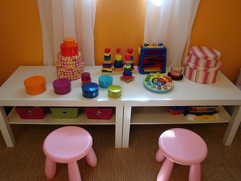 Perfect toddler size activity/play table idea! Would be great for a daycare too!