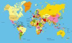 Mapamundi para niños para imprimir. Los 7 mapamundis temáticos más utilizados para descargar e imprimir: Mapamundi político, físico, geológico, terráqueo...