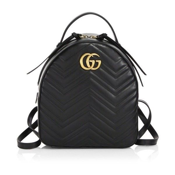 Gucci Gg Marmont Chevron Quilted Leather Mini Backpack ($1,790) ❤ liked on Polyvore featuring bags, backpacks, gold, top handle bags, backpack bags, miniature backpack, gucci backpack and chevron bag