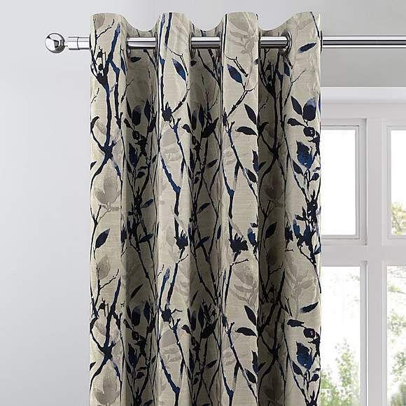 Zen Blue Jacquard Eyelet Curtains Measuring Curtains Blue