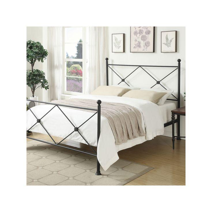 Pulaski All-N-One X-Frame Queen Metal Bed, Grey