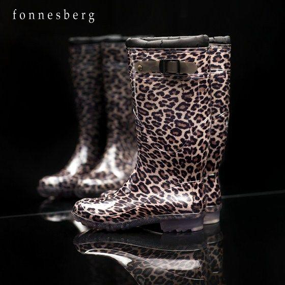 Lækker gummistøvle med foer i leopardprint