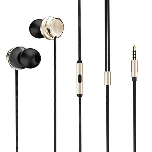 Picun D2 Metal In-Ear Headphones with Microphone Noise Isolating Earbuds Wired Bass Stereo Earphones Compatible with Apple iOS and Android Smartphones (Gold)