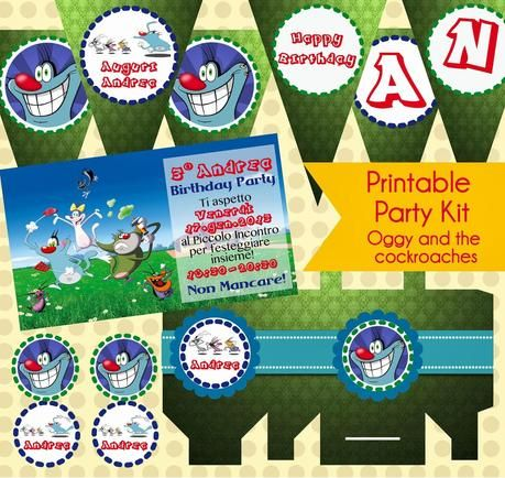 Printable Party Kit: Oggy e i maledetti Scarafaggi.