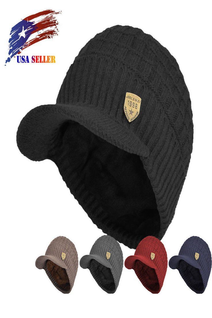 d7d1646f8 14.99   Men Sports Winter Hat Knit Visor Beanie Fleece Lined Billed ...
