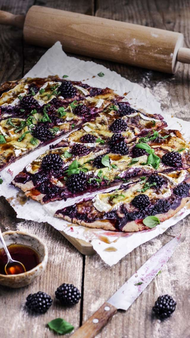 Buckwheat Flatbread with Camembert, Blackberries & Pomegranate Glaze