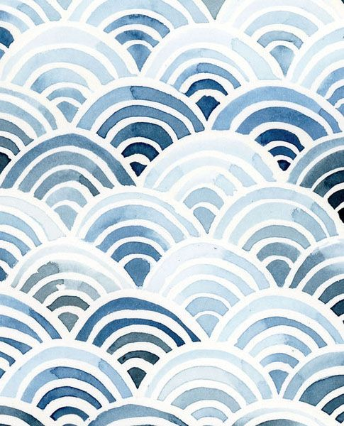 Print- Waves in Indigo — Yao Cheng Design
