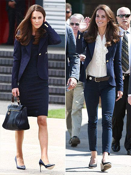 Proving that a great blazer can be dressed up or down, Kate teams her navy Smythe blazer with a coordinating Roland Mouret sheath and Mulberry purse for her flight from London to Canada in June, wearing it again with a ruffled top and J Brand jeans a few days later in Alberta.
