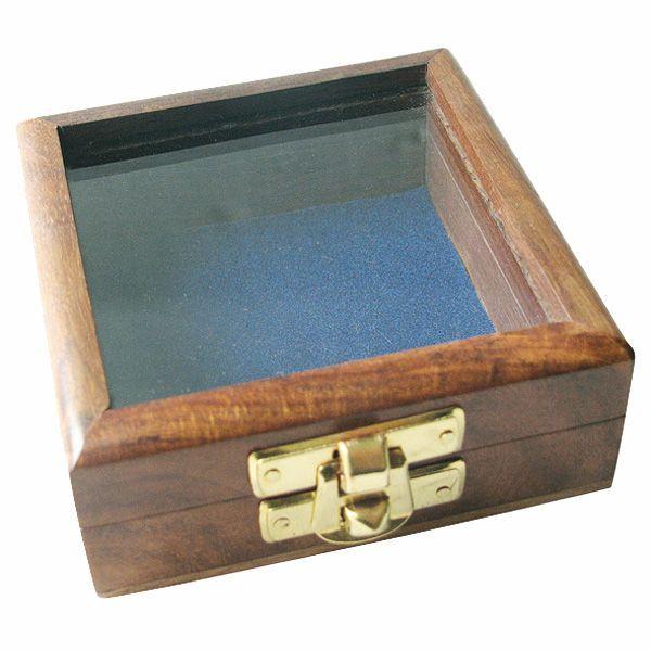 Maritime Holzbox mit Glas im Deckel, 8,5x8,5x3,5cm