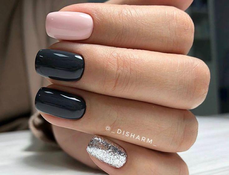 Grey, silver and baby pink nail art.