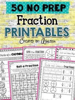 FUN Fraction PracticeGive your students FUN fraction practice with these 50+ printables! They cover equal parts, fractions in a set, fractions on a number line, comparing fractions, and equivalent fractions.**************************************************************************************No Prep NeededAll you have to do is print, and you're ready to go!