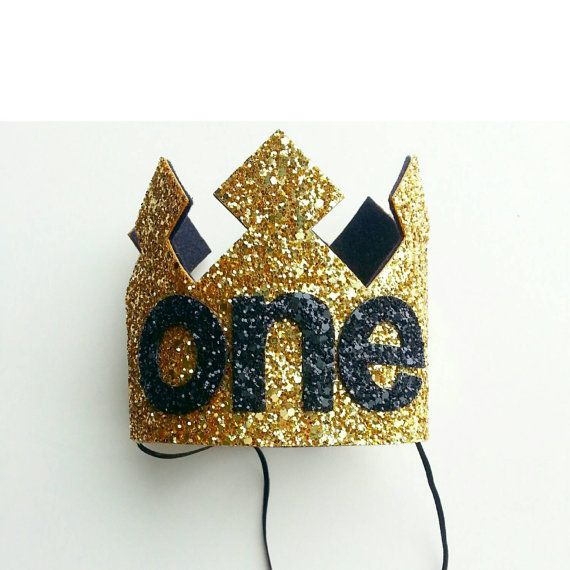 First Birthday Crown, Birthday Boy Crown, cake smash, 1st birthday, photo prop, birthday, gold and black