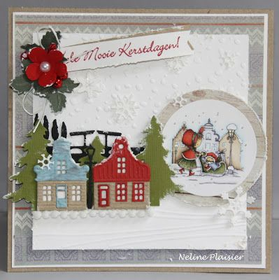 Card by DT member Neline with Design Folder Snowflakes (DF3419), Winter Landscape (DF3421), Creatables Holland Horizon (LR0381), Zaanse Schans (LR0382), Collectables Christmas Village Decoration Set (COL1330) and Craftables Punch Die - Snowflakes (CR1335) by Marianne Design